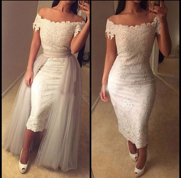 Vintage Lace Saudi Arabic Short Prom Dresses with Detachable Skirt Off Shoulder Tea Length Dubai Evening Dress Abendkleider