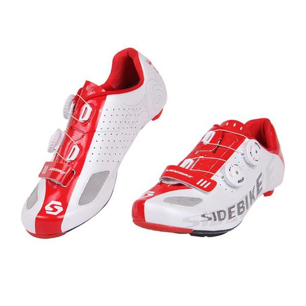 Sidebike Chaussures de cyclisme professionnelles Chaussures en fibre de carbone Vélo de route Bicyclette autobloquante légère Zapatillas Bicicleta