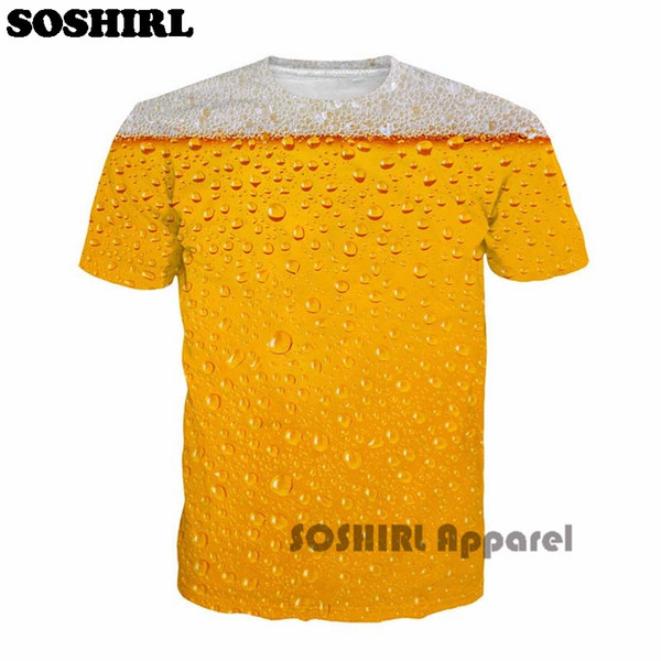 Casual Soshirl Cool Summer Beer Full Print T Shirt Novelty Short Sleeve Tee Top Man Unisex Outfit High Quality Causal Dropship T-Shirt