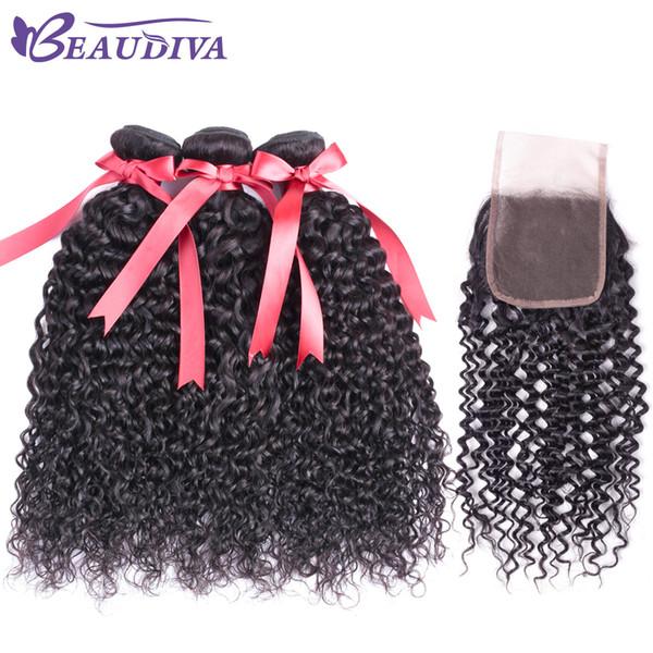 Pelo brasileño Kinky Culry Virgin 3 paquetes con 4 * 4 encajes de cierre Parte libre Grado 8A 100% paquetes de cabello humano con cierre