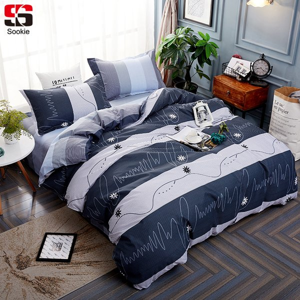 Sookie Striped Bedding Set Modern Geometric Print Bedclothes 3pcs Duvet Cover Sets Twin Full Queen King Size Soft Bed Linen