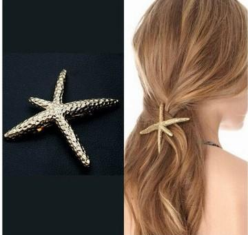 Classic Starfish Hair Clamps For Girls /Ladies Gold Tone Metal Hair Barrettes Clips Hair Clamp Clip