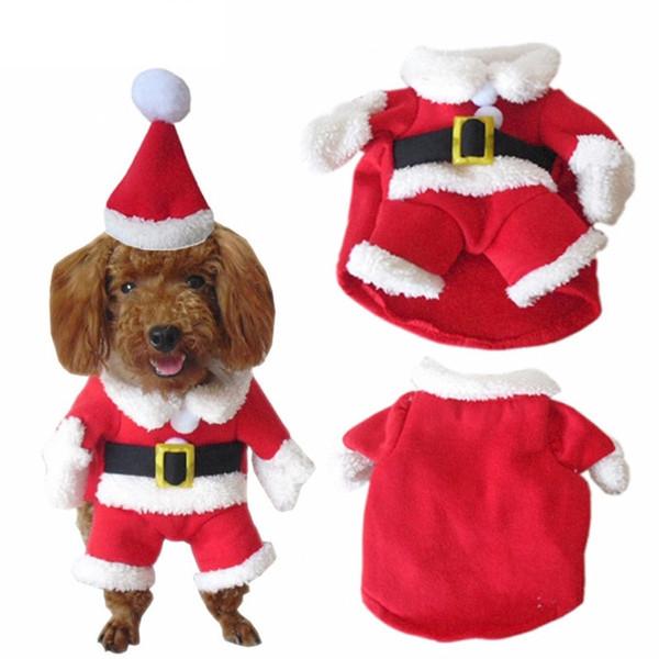 New 5 Size Christmas dog costume transformed dress santa suit classic Euramerican pet warm Christmas clothes dog apparel decoration supplies
