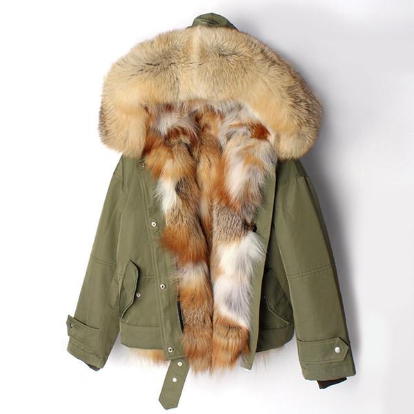 Nuovo abbigliamento da donna In autunno e inverno 2018, In pelle stile breve Overcome Fox Liner, Cappotto donna con cappuccio Fox Red Spedizione gratuita