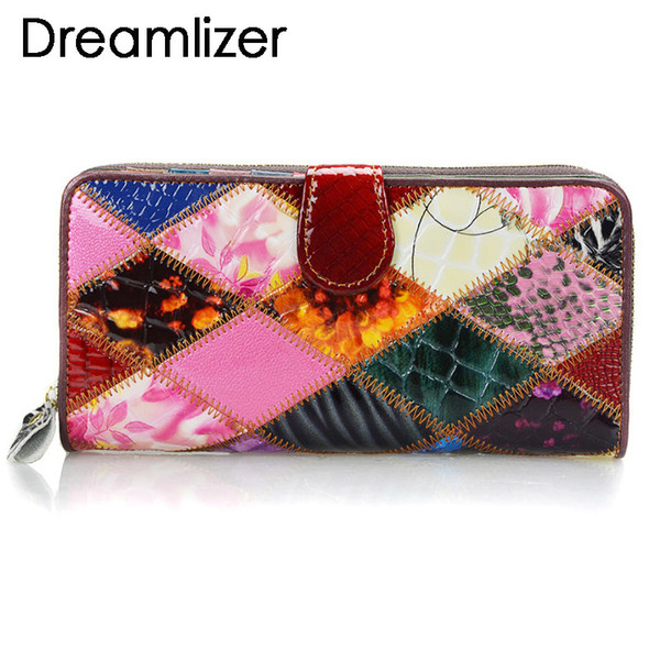 Shining Random Rainbow Color Leather Wallet Women Hasp Clutch Purse for Phone Bifold Long Card Holder Large Female Money Bag D18103103