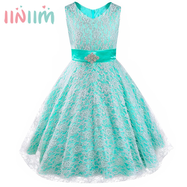 Kids Girls Dress Formal Party Ball Gown Pageant Graduation Dress Girl Floral Lace Rhinestone Vestidos Dress Wedding Flower 4-16Y