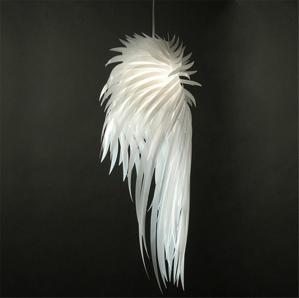 Modern White Feather Wing Ceiling Light Suspension Fashion PVC Light Fixture for living Room Dinning Room Bedroom B091