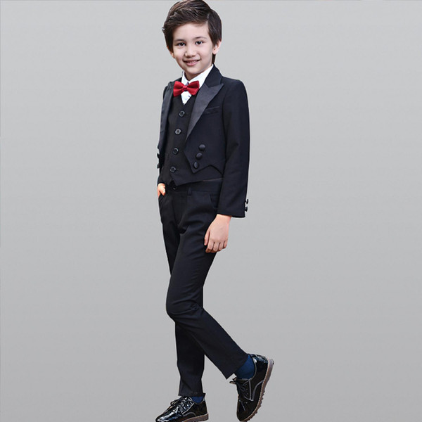 2018 Fashion Boy Suit Baby Boys Swallowtail Daily Dance Costume Casual Flower Cool Boy Casual Cloth Suit /Trousers /Bow/Shirt / Vest