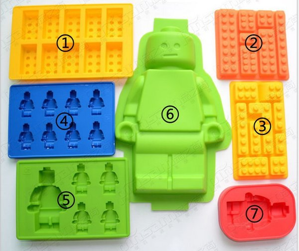 7pcs Different Silicone Lego Brick &Robot Shape Silicone Fandont Chocolate Mold Ice Cube Ice Trays Baking Pan Fondant