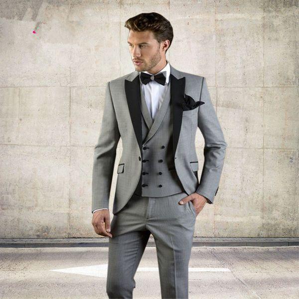 8673774f2927 Linyixun Grey Men Suit Slim Fit Jacket With Black Tuxedo Custom Made Blazer Wedding  Groom Suits
