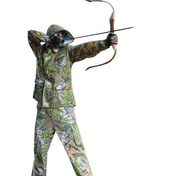 Green Forest camouflage Cotton traspirante Bionic Camouflage Hunting Clothing Caccia Ghillie Suit Jacket Pants Uniform