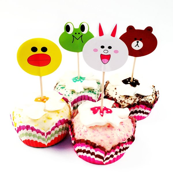 720pcs Cartoon Animal Head Rabbit Duck Bear Frog Cupcake Toppers Picks Party Cake Decoration Birthday Party Baby Shower Supplies