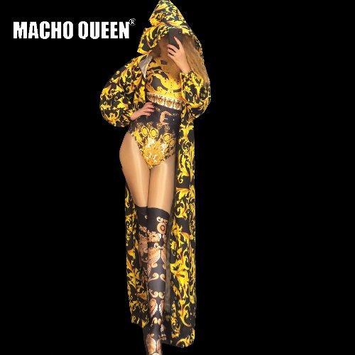 Drag Queen Costumi Tuta con stampa barocca Tuta Celebrity Hood Mantello Red Carpet Runway Performance Celebrity Abbigliamento