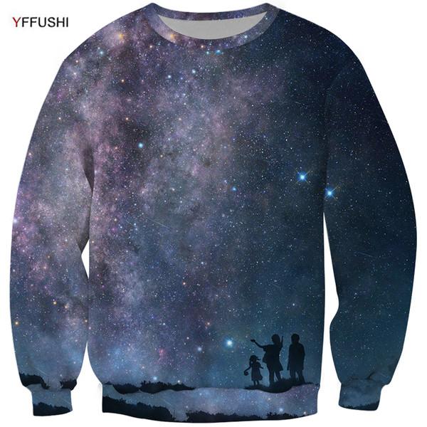 YFFUSHI 2018 Brand Male Hot Sale Plus Size 5XL 3D Sweatshirt Hot Sale Space Series Beautiful Star River 3d Print Pullovers Men