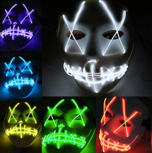 Halloween Mask LED Light Up Party Masks The Purge Election Year Great Funny Masks Festival Cosplay Costume Supplies Glow In Dark Halloween