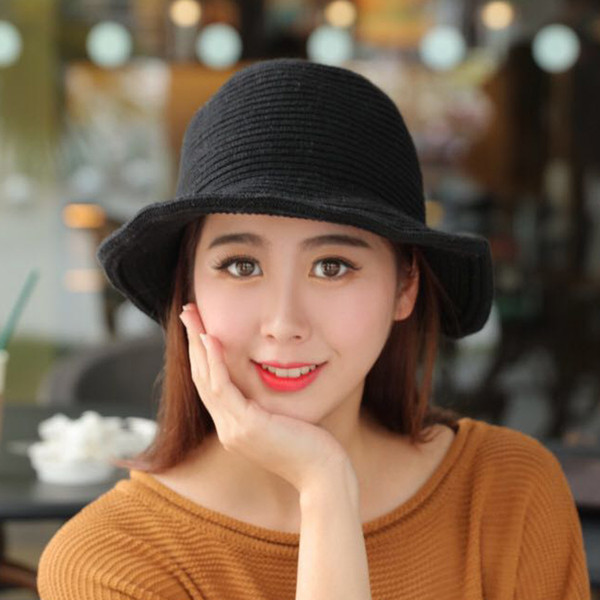2018 warm wool Beanie Cap Hat small basin all-match Ms. Han knitting wool winter hat Women cayler sons bucket cap