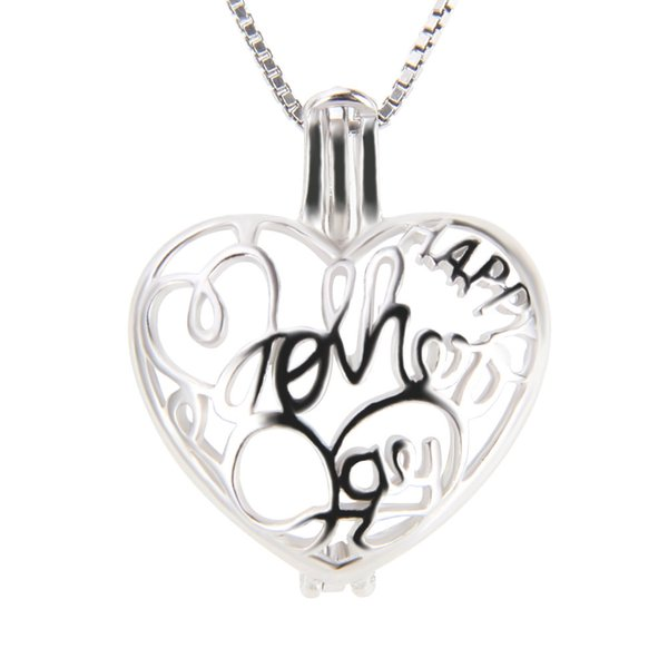 Mother's Day Theme 925 Sterling Silver Heart Cage Pendants for Mother, 19.9*16.1*9.2mm, Free Shipping