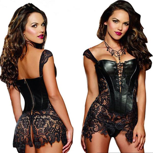 Стимпанк женщины кружева платье партии пром корсеты бюстье пачка юбка плюс размер ночной клуб сексуальное женское белье сексуальная прозрачный равномерное искушение