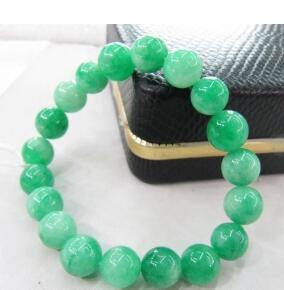 Free Shipping wholesale Chinese Green Natural Stone 10mm Beads elastic Bracelet (no box)