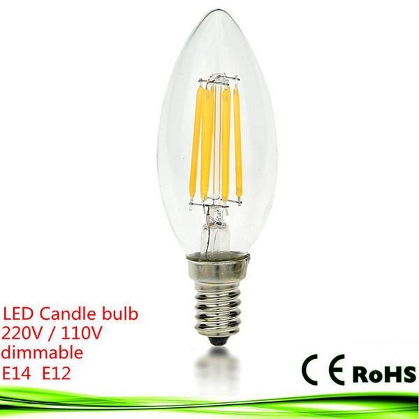 Neue LED e14 Birne 4W 6W 9W E12 E27 220V 110V dimmbare Bombillas LED Filament Kerzenlicht warm / kalt weiß Kronleuchter Kristalllampe