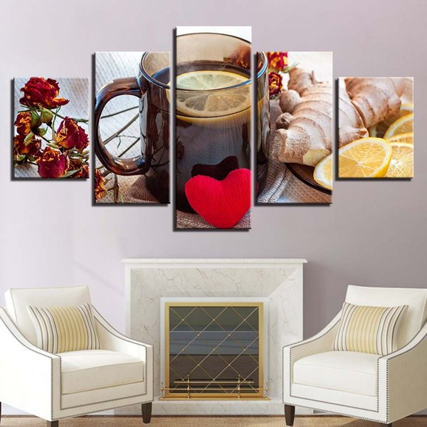 Oil Painting Style Wall Modular Pictures Fashion 5 Panel Lemon tea For Living Room Tea Art Canvas Cuadros Modern Framework Decoration