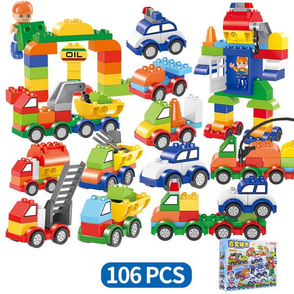 106pcs / set Cars Building Blocks plaque train numérique voiture enfants jouets briques Intelligence Éducative Coffre-Fort Favor AAA1273