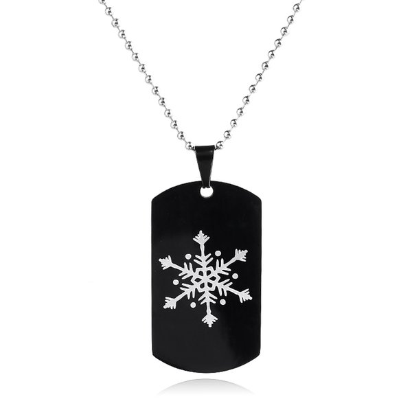 Classic Snowflake Logo Black Stainless Steel Army Tags Cards Necklace Pendant Men Jewelry Long Chain Necklace Man