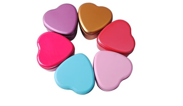 300pcs Colorful Heart Shape Tin Box Tea Candy Chocolate Jewelry Storage Box Christmas Gift Container Case free shipping