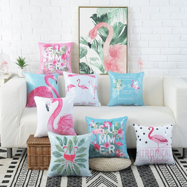 Flamingo Bird Sequin Pillow Case Shiny Sequins Pillow Cover Home Sofa Magic Paillette Diy Cushion Cover 40 40cm White Pillow Case Pillow Sheets From
