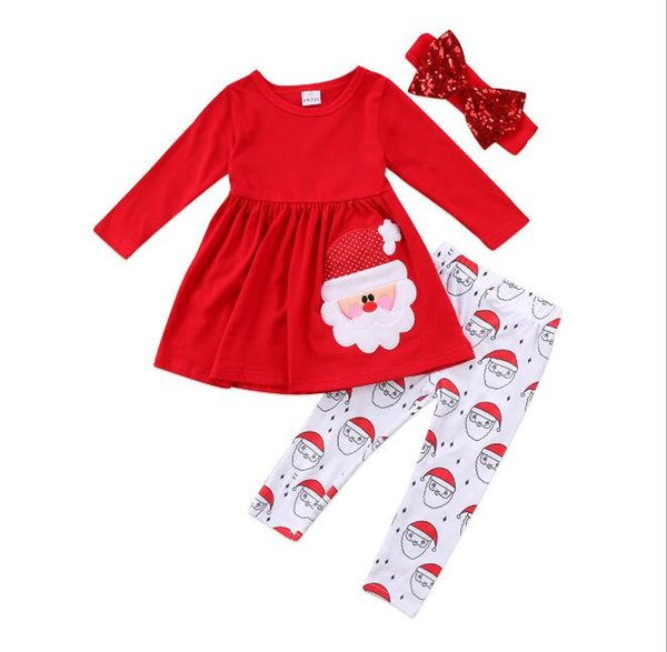 Christmas Baby Girl Suit Two children's Suit for Pure Cotton Children Girl's Skirt + Pant tSuits 2018 new Boutique kids Clothing Sets
