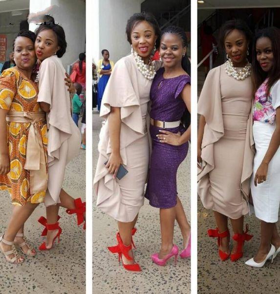 Elegant African Sheath Evening Dress Tea Length Jersey Formal Gowns With Ruffles Cap Sleeve Back Split Party Dresses Abendkleider