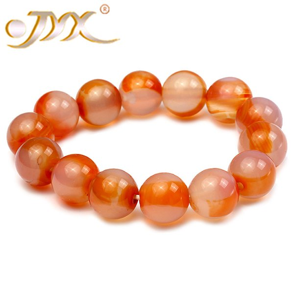 JYX Agate Bracelet 14mm Round Red and White Agate Bracelet 7