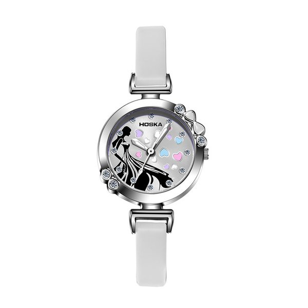 New Kids watches Girls Quartz watch Large dial small band Cute colorful Cinderella waterproof 30M student quartz watch