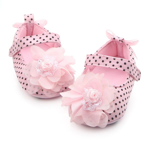 Fashion Personality Baby Shoes Spring And Autumn New Princess Flower Polka Dot Female Baby Shoes Toddler Children