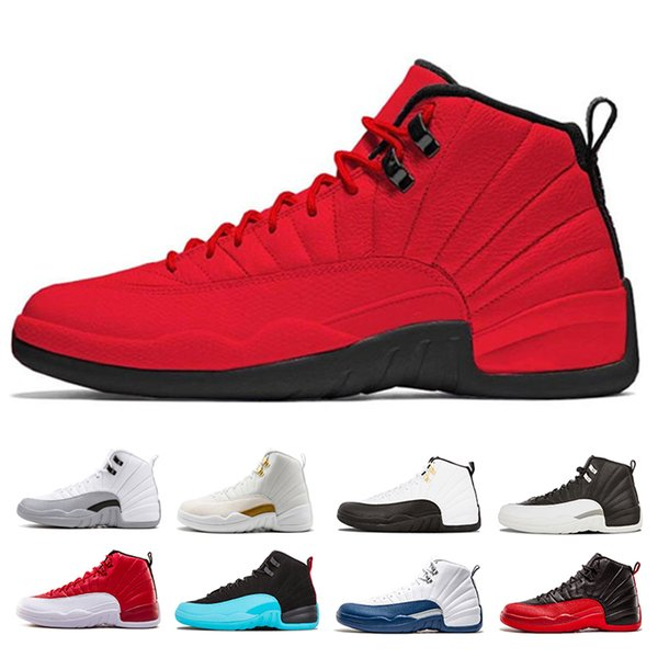 New WNTR mens 12 12s Basketball shoes the master Dark Grey flu game playoffs french blue gym red trainers Sports Sneakers size 8-13