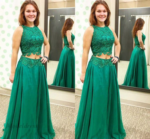 Hunter Green Two Pieces Prom Dresses Lace Tops Chiffon A Line Floor Length Elegant Girls Party Dresses 2018 New Arrival Formal Evening Gowns