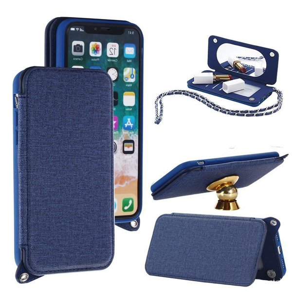 New Chain Canvas PU Leather Wallet Case with Mirror Card Slot with Strap Lanyard For iphone X 8 7 6s 5 SE plus Samsung Note8 s8 plus OPP Bag