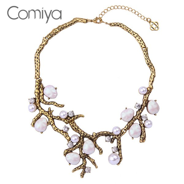 whole saleComiya Vintage Flower Collar Imitation Pearl Necklace Filled Shourouk Snake Link Fashion Jewelry Women Accessories Ethnic