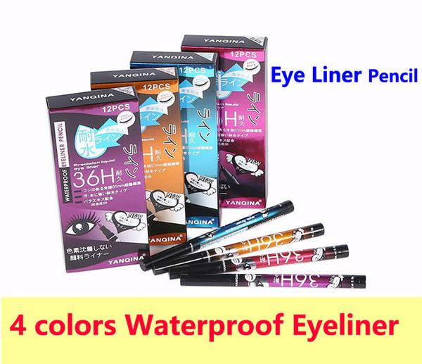 Eyeliner Pen Eye Liner Pencil 36H Eyeliner Pen 4 colors YANQINA durable waterproof Eye Liner Pencil high-quality makeup DHL free shipping