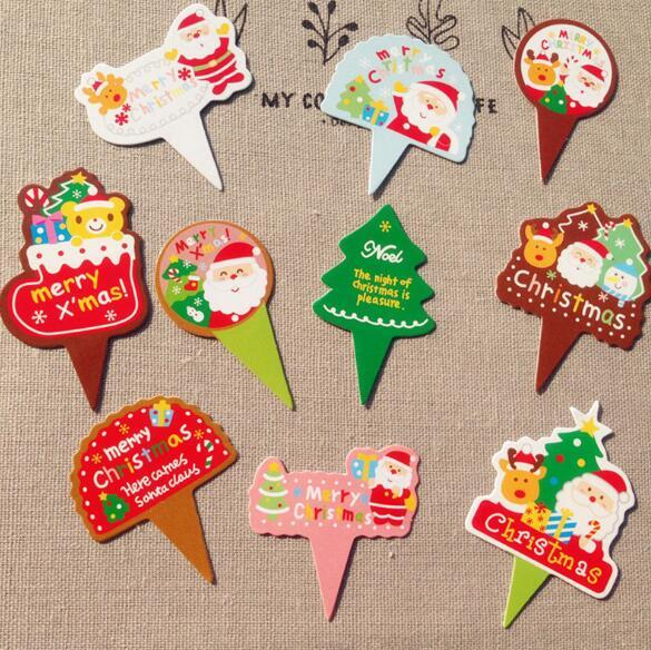 Christmas Xmas Cupcake Toppers Santa Claus Christmas Tree Cake Flags for Happy Christmas Party Decoration Supplies