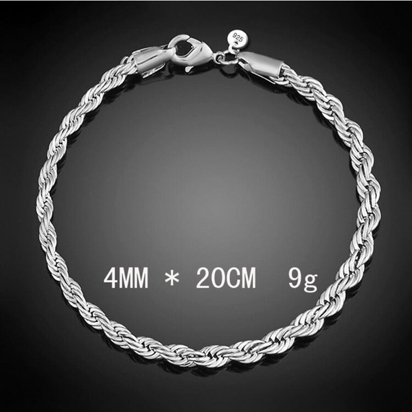 Braccialetto d'argento sterlina del braccialetto della corda di torsione dell'argento sterlina di 4mm per gli uomini Braccialetti di fascini europei del partito Braccialetti adatti perline di vetro di Murano