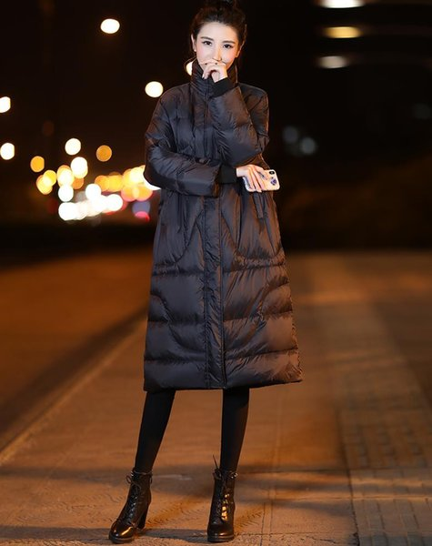 Women Lady Warm Down Jacket Long Padded Loose Fit Collared Coat Pocket Long-sleeved Winter Stylish