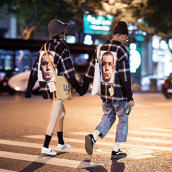США и Европа уличные любители рубашка плед мужчины и женщины обратно ткань печати большой размер 5xl Весна с длинным рукавом рубашки свободные