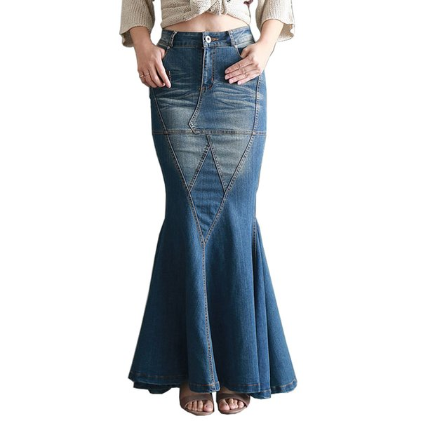 2017 New Fashion Retro slim Vintage Sexy Fishtail Fish Tail Ladies Long Denim Skirts / Design Jeans Long Skirt for Womens