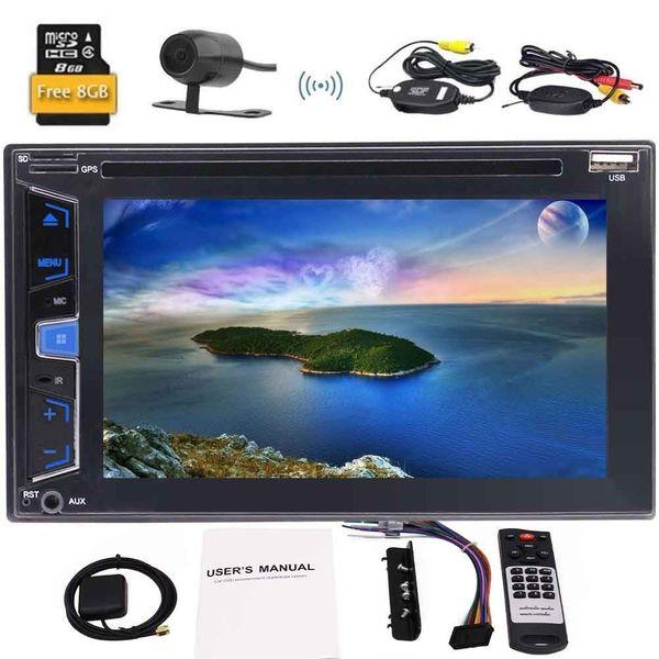 Eincar 6.2 '' Doble 2Din radio para automóvil Reproductor de medios DVD para auto Estéreo GPS Navegador Unidad principal Volante automagnitol + cámara trasera inalámbrica