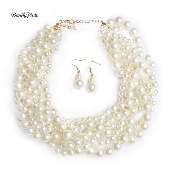 Banny Pink Elegant Bib Imitation Pearls Choker Necklaces For Women Handmade Multi Row Strands Choker Collar Fashion Jewelry Set
