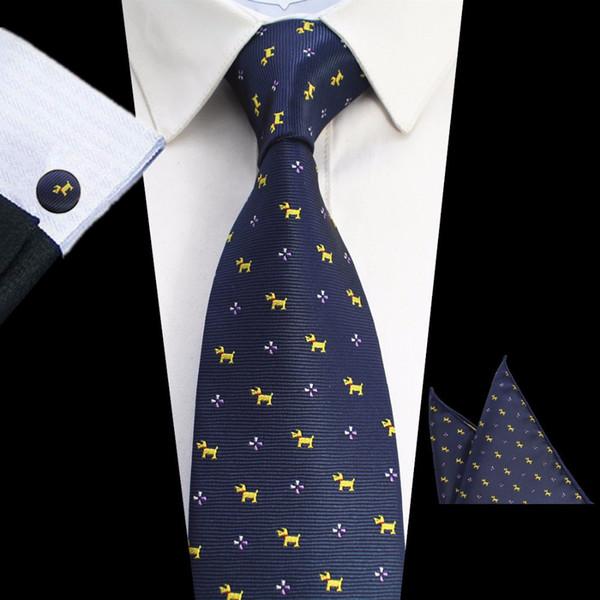 GUSLESON New Design Laço oito centímetros Set tecido jacquard Gravata dos homens Gravata lenço Abotoaduras Set Tie Mens para festa de casamento