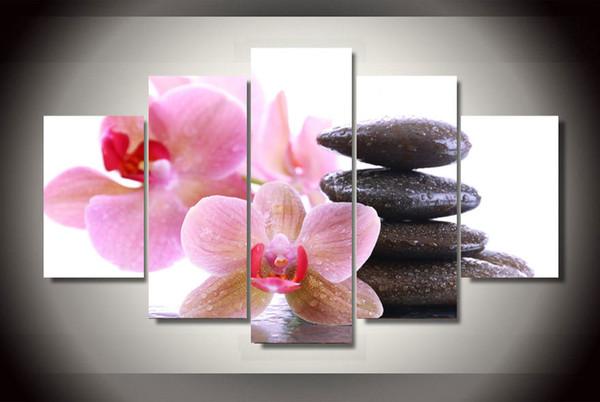 Acheter Se Précipita Moderne 5 Pièces Set Peinture De Bombe D Orchidée Rose Sur Toile Décor De Chambre Imprimé Photos De Mur Pour La Décoration De