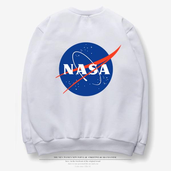 2018 Winter NASA Mens Fleece Pullover Black White Gray Loose Hoodie Long Sleeves Hip POP TEE