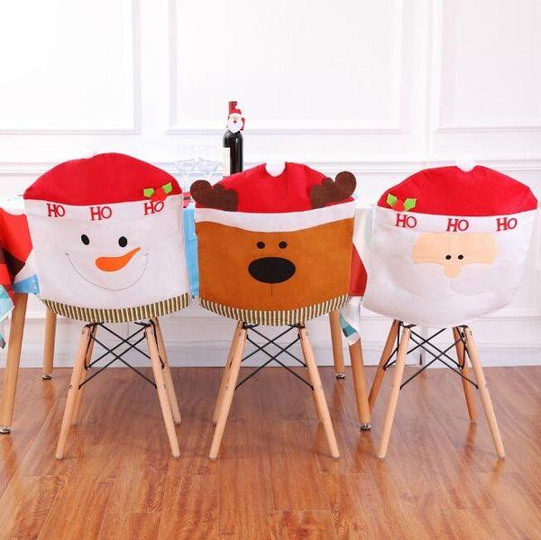 Christmas chair covers Santa Claus Snowman Deer Patterns red hat chair covers Christmas decorations dinner chair Xmas cap sets